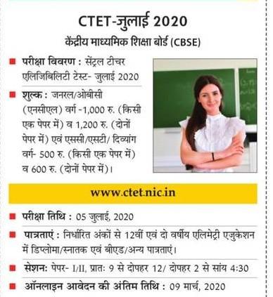 CTET जुलाई 2020 में आवेदन की अंतिम तिथि 9 मार्च