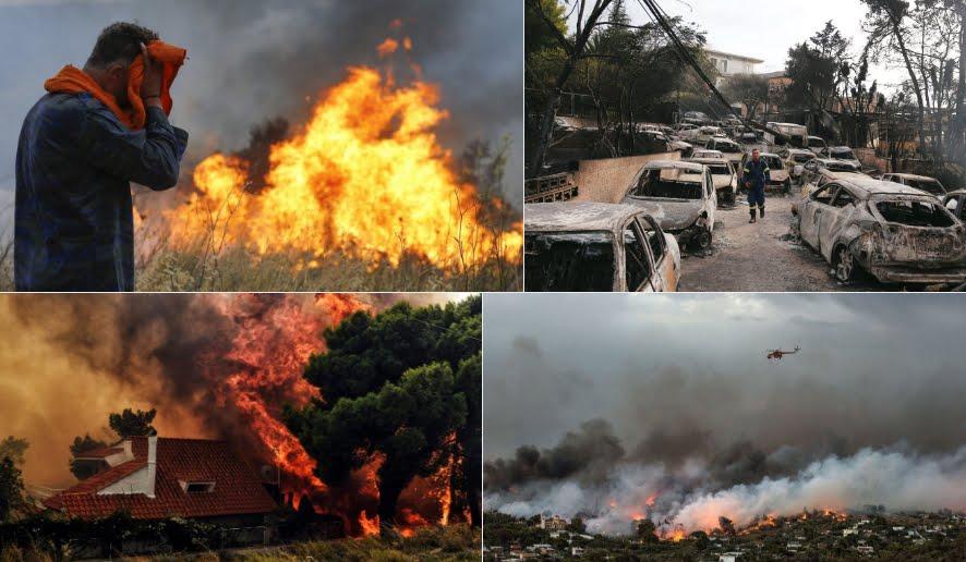 Incendio Atente, un disastro biblico: molti morti in auto mentre tentavano di scappare dal fuoco in Grecia.