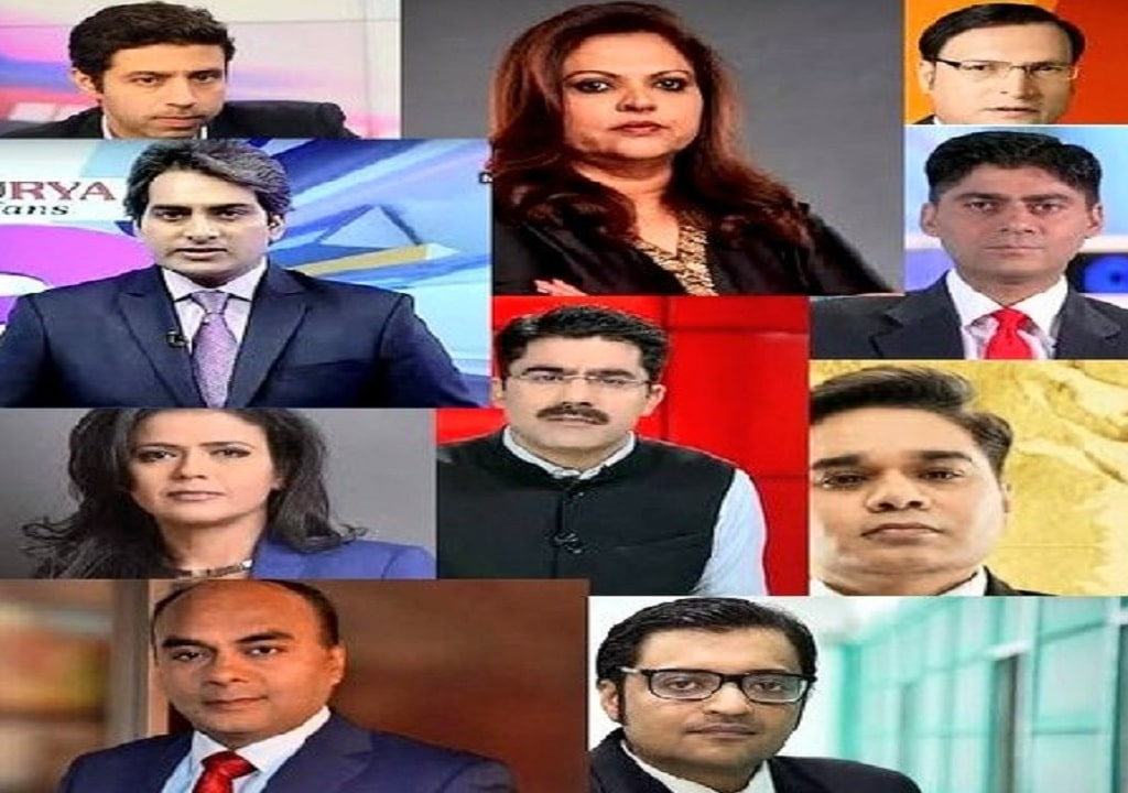 Faces of the Indian news anchors