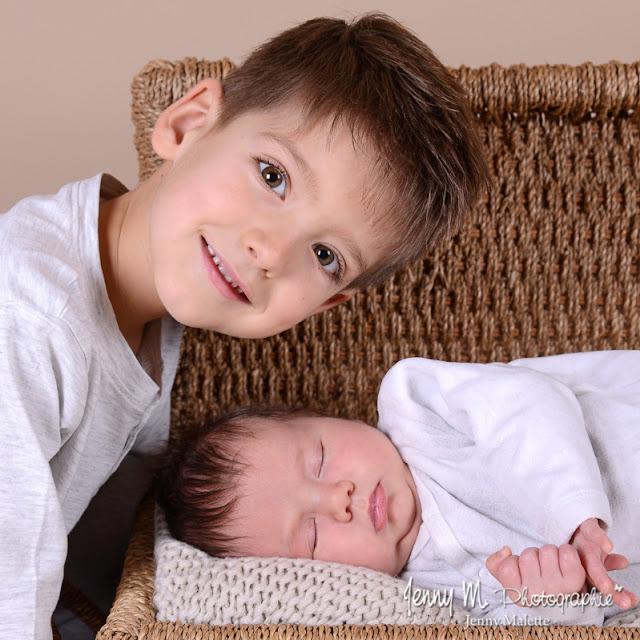 shooting photo portrait bébé et grand frère, portrait