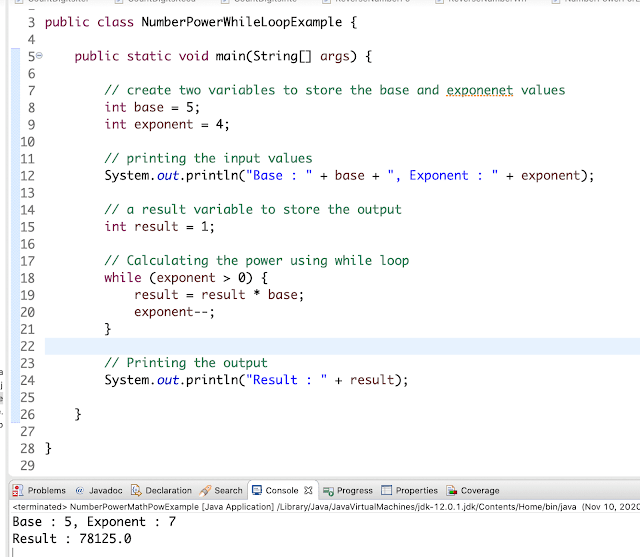 Java Program to Calculate the Power of a Number With Examples