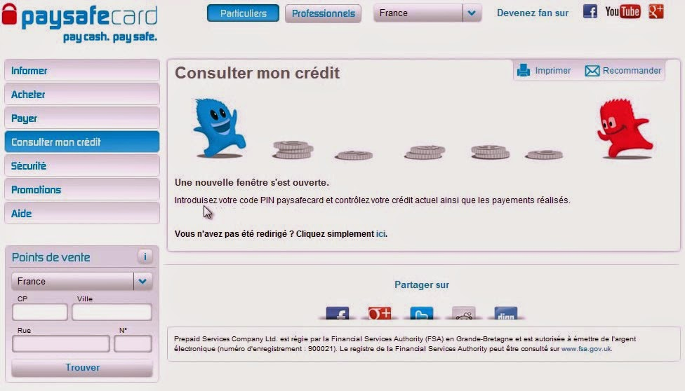 Paysafecard Account Credit Screen