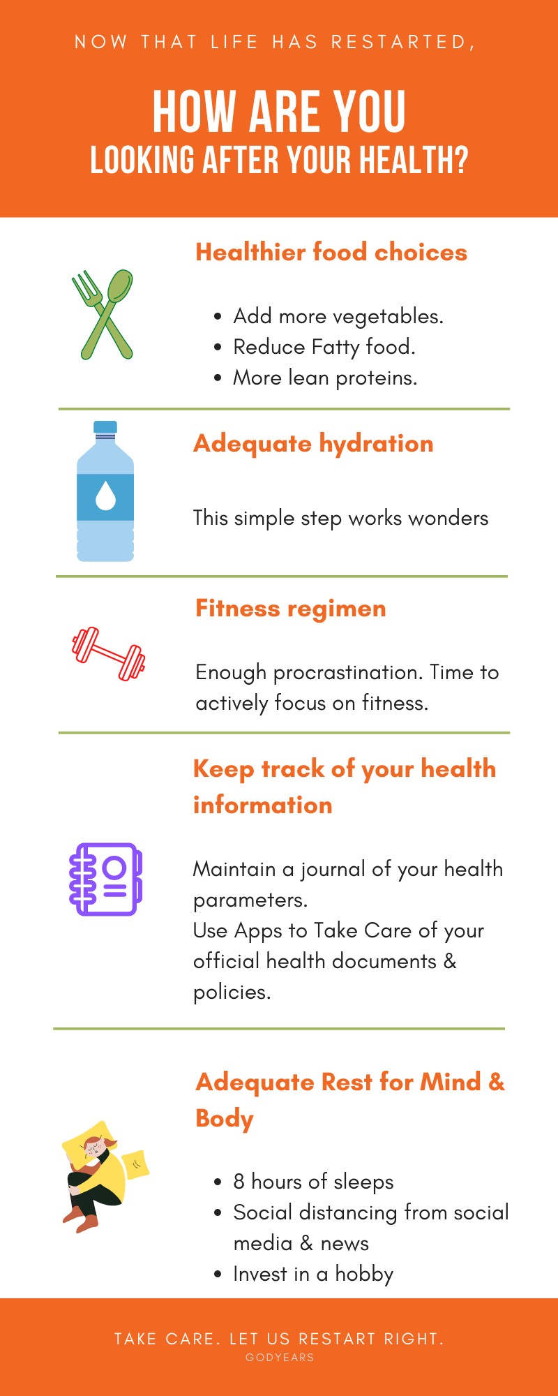 infographic explaining Tips to Stay Healthy after restarting life