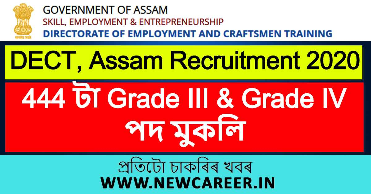 DECT, Assam Recruitment 2020 : Apply Online for 444 Grade III & Grade IV Vacancy