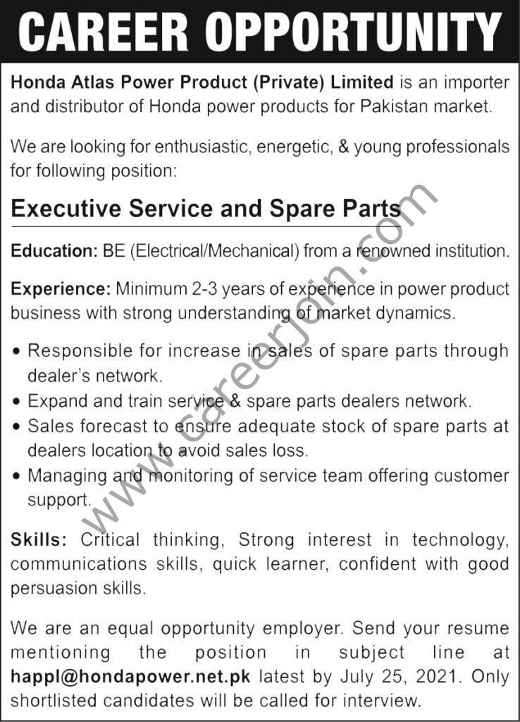 Honda Atlas Power Product Pvt Ltd Jobs Executive Service & Spare Parts