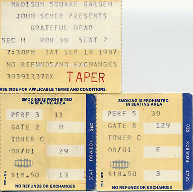 Grateful Dead, September 18, 19, and 20, 1987