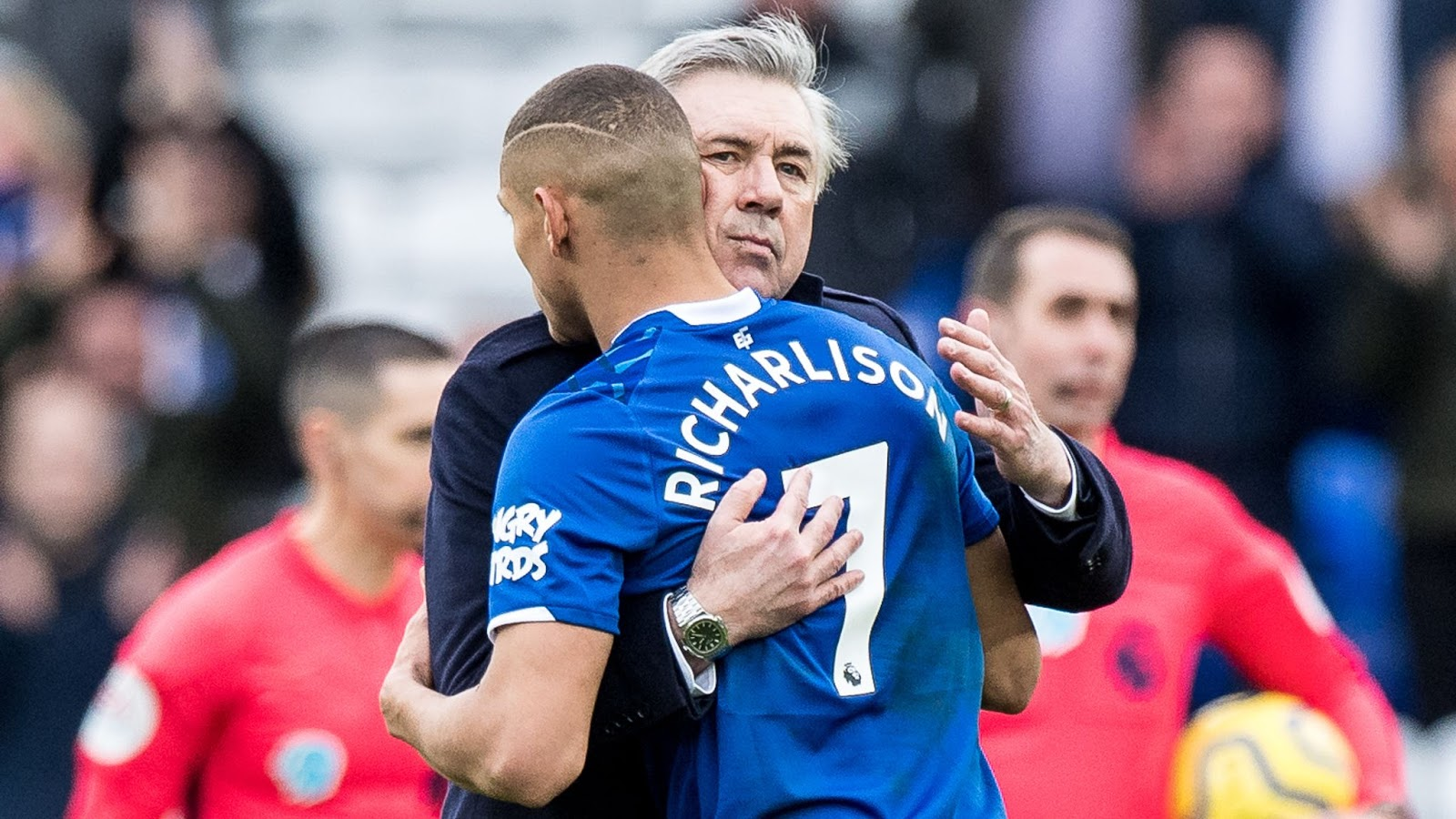 Everton manager Carlo Ancelotti with Brazilian striker Richarlison