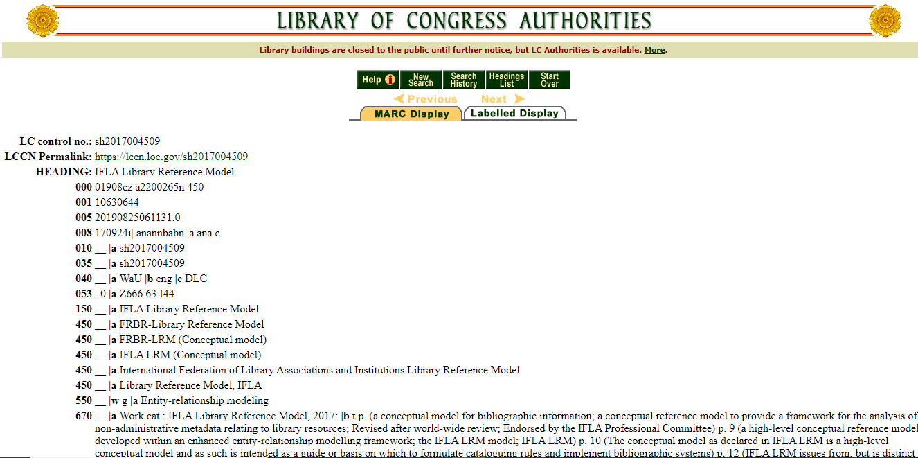 Authority Record of IFLA Library Reference Model (LRM)