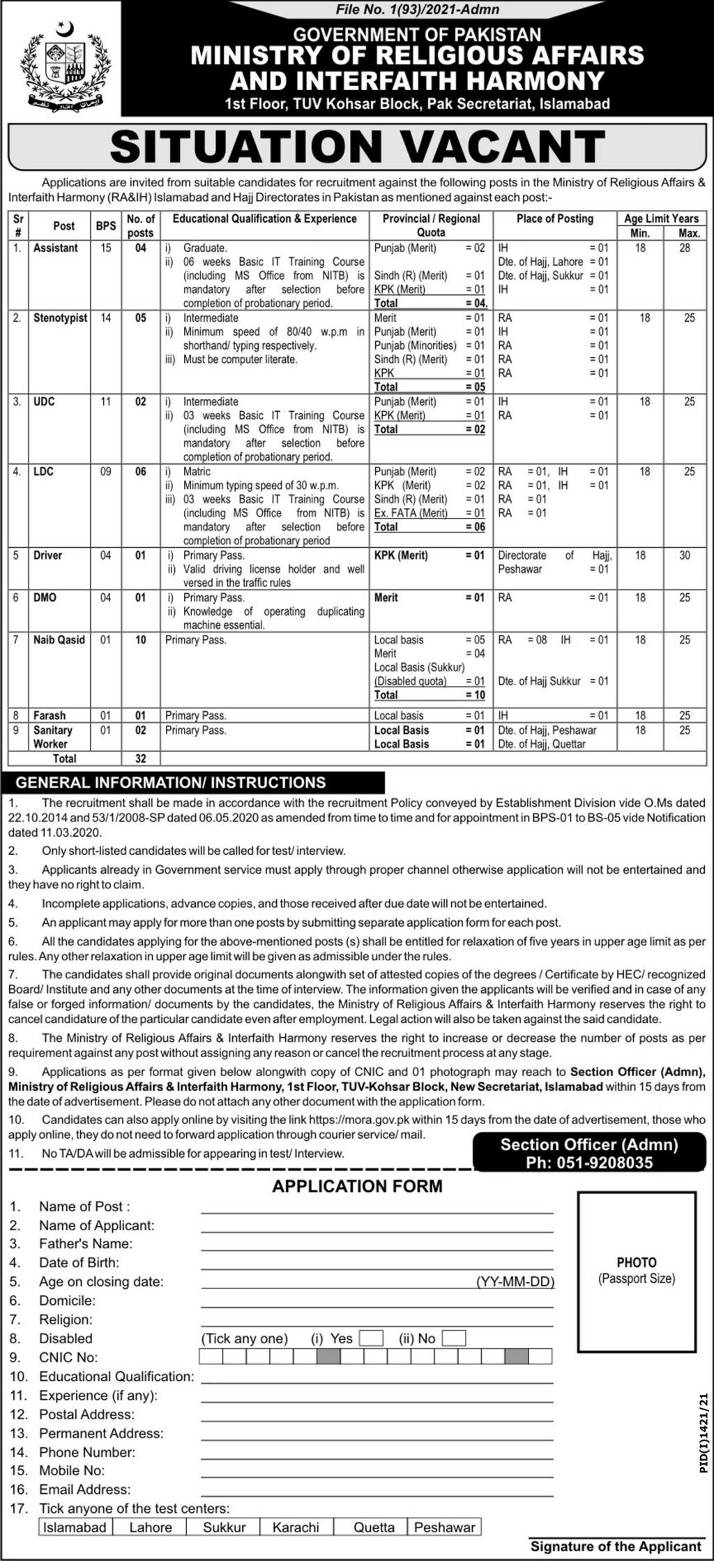 Ministry of Religious Affairs And Interfaith Harmony Government Of Pakistan Jobs 2021