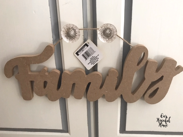 Dollar Tree particleboard Family hanging sign