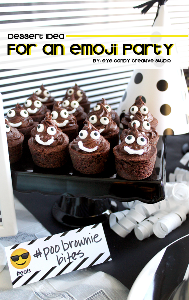 dessert idea for an emoji party, brownie bites, emoji birthday party