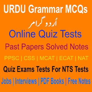 Online Urdu Grammar Definitions MCQs Quiz Tests