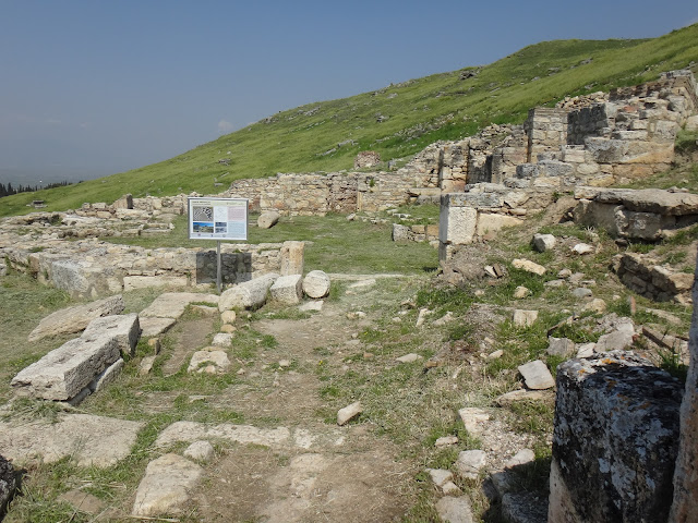 Octagonal Baths building before heading up the stairway at Hierapolis in Pamukkale, Turkey
