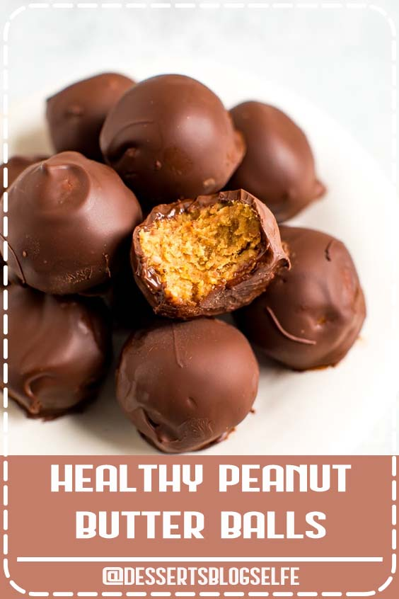 Make healthy peanut butter balls with only 5 simple ingredients: peanut butter, oats, dates, chocolate and coconut oil! No powdered sugar or butter needed. These peanut butter balls are dairy-free, gluten-free and vegan! #DessertsBlogSelfe #glutenfree #dairyfree #vegan #peanutbutter #peanutbutterballs #eatingbirdfood #holiday #christmas #dessert #HealthyDesserts