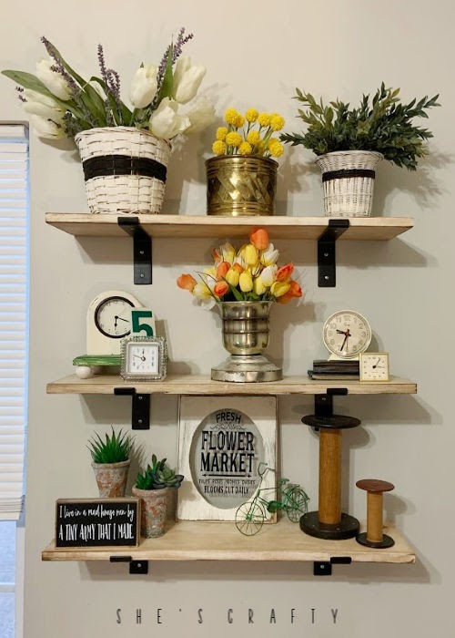 display shelves, shelves with brackets, how to make easy DIY shelves