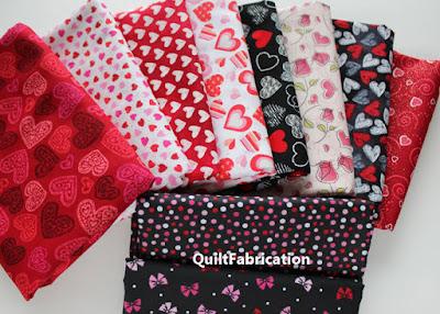 several heart themed fabrics