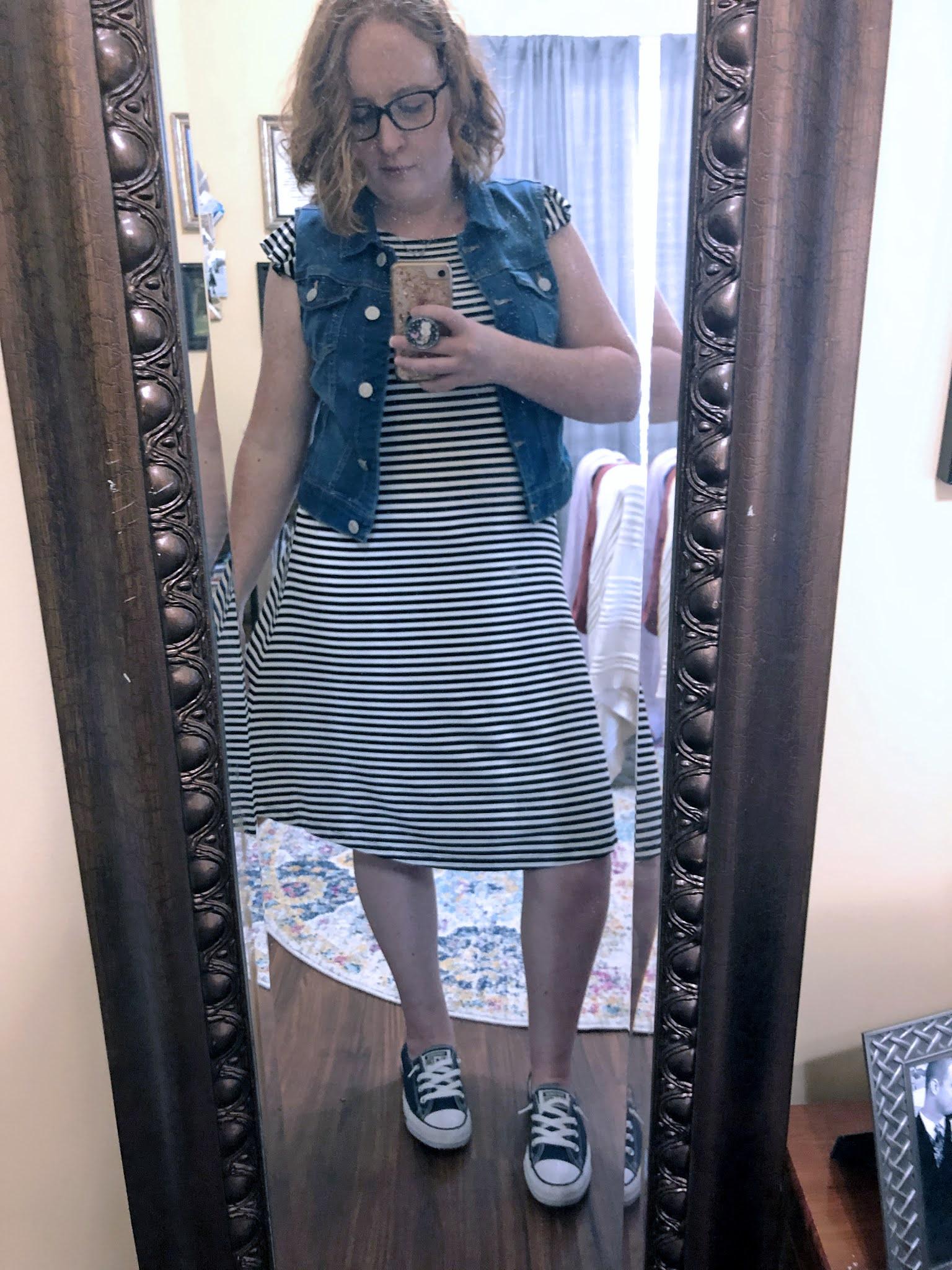 striped-dress-denim-vest-converse