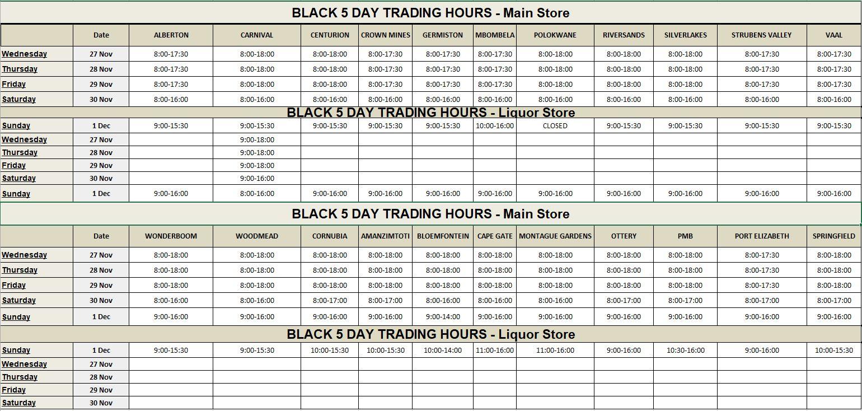 Makro Black 5 Day Trading Hours