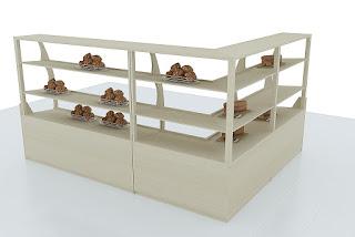 Desain Etalase Display Roti Bakery Terbuka