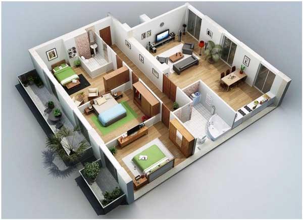 kumpulan denah rumah 3 kamar tidur 3d