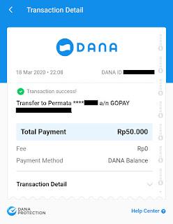 Cara transfer dana ke gopay 10