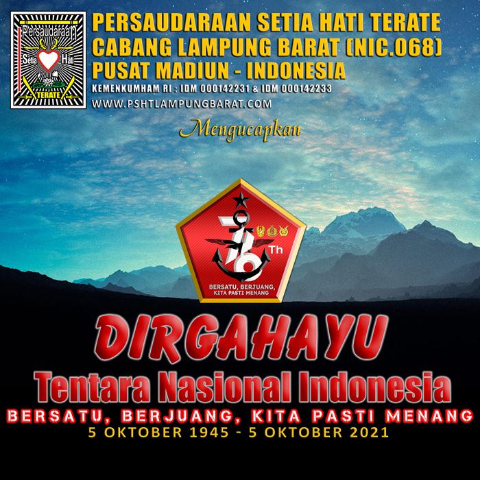 Banner PSHT Lampung Barat mengucapkan Dirgahayu TNI Ke-76