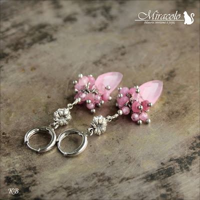 Miracolo, kwarc różowy, latawiec, różowe cyrkonie, pink quartz kite shape, pink quartz earrings
