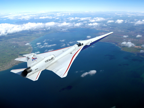 An artist's concept of NASA's X-59 QueSST aircraft soaring high in the sky.