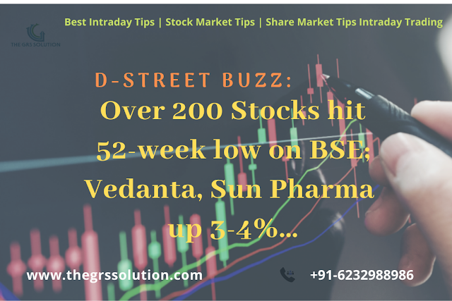 D-Street Buzz: Over 200 Stocks hit 52-week low on BSE; Vedanta, Sun Pharma up 3-4%... The GRS Solution | Best Stock Trading Services Provider RSS Feed THE GRS SOLUTION | BEST STOCK TRADING SERVICES PROVIDER RSS FEED | THE-GRS-SOLUTION.BLOGSPOT.COM BUSINESS EDUCRATSWEB