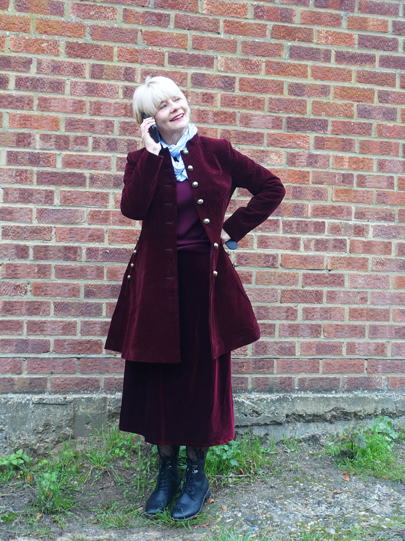 A burgundy velvet coat with gold buttons is the cosy coat chosen by Is This Mutton for the Style Not Age Challenge Cosy Autumn Coats