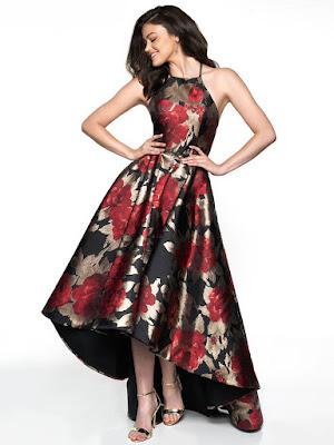 Brocade Hi-low prom black-red color dress