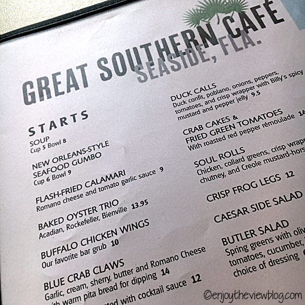 Part of menu from the Great Southern Cafe in Seaside!