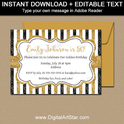 black and gold glitter 50th birthday invitation printable template