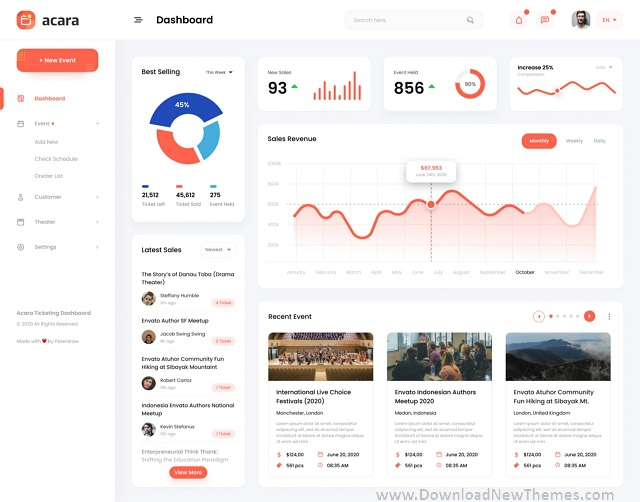 Event Ticket Admin Dashboard UI Template