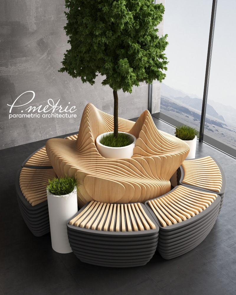 Okrągła ławka wyspa rekreacji do odpoczynku do galerii handlowej z dużym kwietnikiem