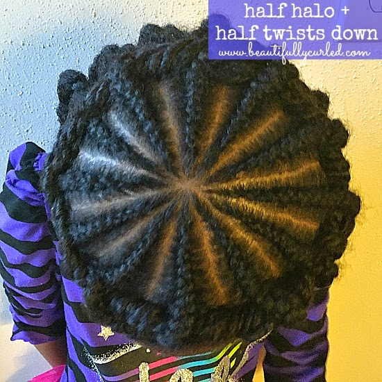 Beautifully Curled: half halo + half twists down hairstyle ...