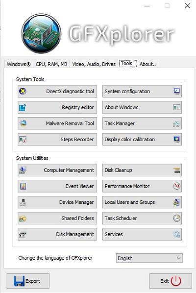 أداة مجانية لعرض معلومات النظام التفصيلية وجهاز الكمبيوتر GFXplorer