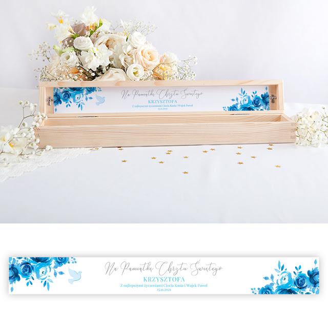 Drewniane pudełko na świecę do Chrztu