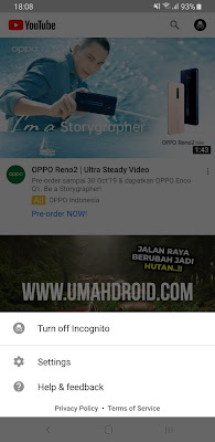 Tampilan Mode Penyamaran di YouTube