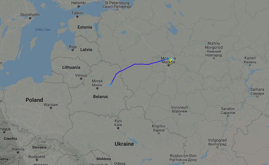 У Білорусі сьогодні приземлився військовий спецборт Росії