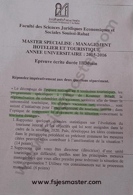 Exemple Concours Master Management Hôtelier et Touristique 2015-2016 - Fsjes Souissi