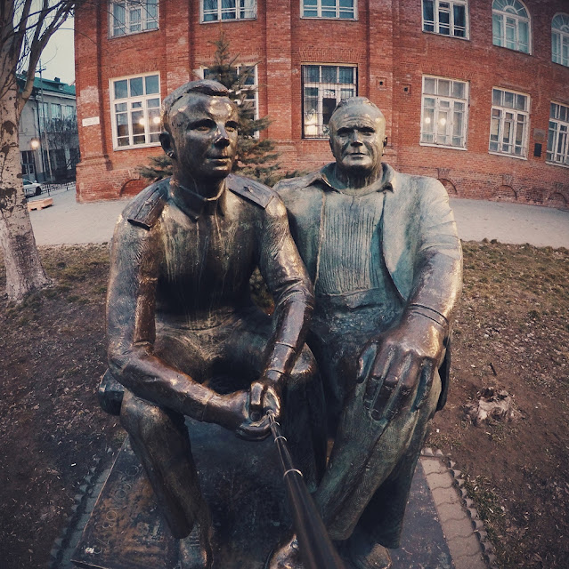 Monument to Korolev and Gagarin.