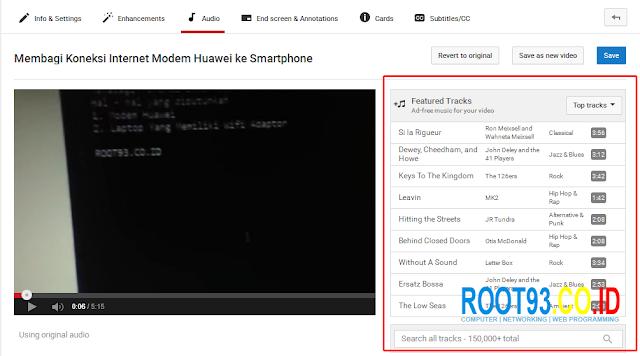 langkah ketiga menampilkan/daftar audio yang tersedia di youtube