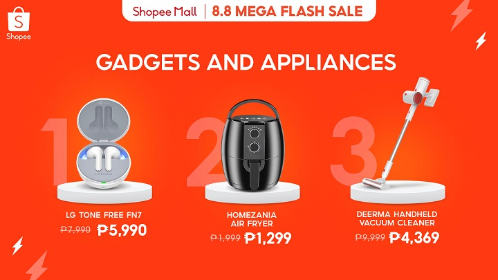 Shopee 8.8 Mega Flash Sale: Gadgets and appliances for the home
