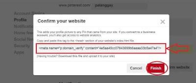 cara verifikasi situs web pinterest