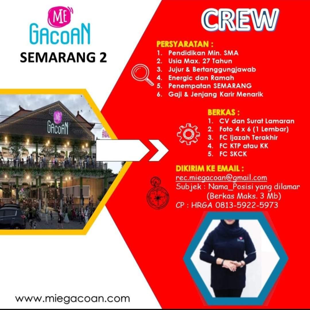 Lowongan Kerja Crew Untuk Resto Mie Gacoan Cabang Semarang 2