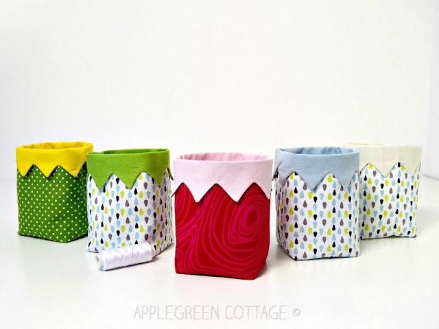 Cutest DIY Mini Fabric Bin - A PDF sewing pattern and an easy beginner sewing project. It's a cute little handy DIY fabric bin, ​​an easy and quick sew.​ And a great scrap buster. ​​Makes an excellent handmade present​!​
