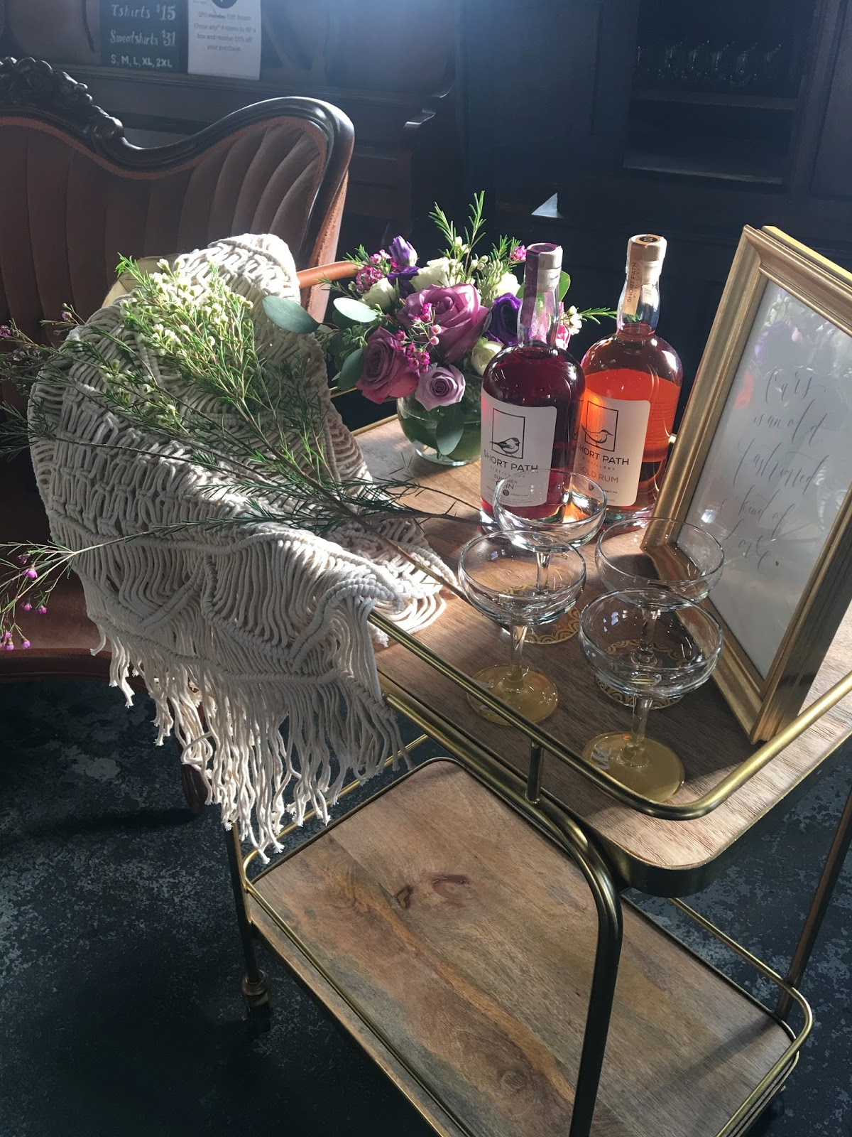 Styled photo shoot, bar cart, calligraphy