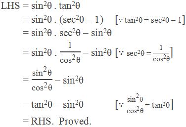 "LHS = sin2θ . tan2θ          = sin2θ . (sec2θ – 1)[∵ tan2θ = sec2θ – 1]          = sin2θ . sec2θ – sin2θ          = sin2θ . ""1"" /(〖""cos"" 〗^""2""  ""θ"" ) – sin2θ   [∵ sec2θ = ""1"" /(〖""cos"" 〗^""2""  ""θ"" )]          = (〖""sin"" 〗^""2""  ""θ"" )/(〖""cos"" 〗^""2""  ""θ"" ) – sin2θ          = tan2θ – sin2θ    [∵ (〖""sin"" 〗^""2""  ""θ"" )/(〖""cos"" 〗^""2""  ""θ"" ) = tan2θ]          = RHS.  Proved."
