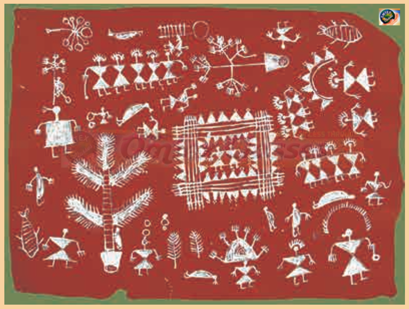 Observe the Illustration of Warli Painting Above and Write About: (A) Depiction of Nature (b) Drawings of human figures (c) Depiction of occupations (d) Houses